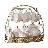 CJLIZI 16 Piezas de Juego de té Europeo, Conjunto de té de cerámica, Conjunto de café de Marco de Metal, Usado para Regalos/Boda/hogar y Oficina
