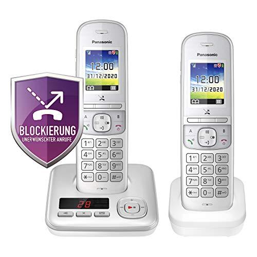 Panasonic KX-TGH722GG Schnurlostelefon Duo mit Anrufbeantworter (DECT Telefon, strahlungsarm, Farbdisplay, Anrufsperre, Freisprechen) perl-Silber