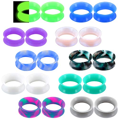Jewseen 20PCS Soft Silicone Ear Gauges Flesh Tunnels Plugs Stretchers Expander Double Flared Flesh Tunnels Ear Piercing Jewelry