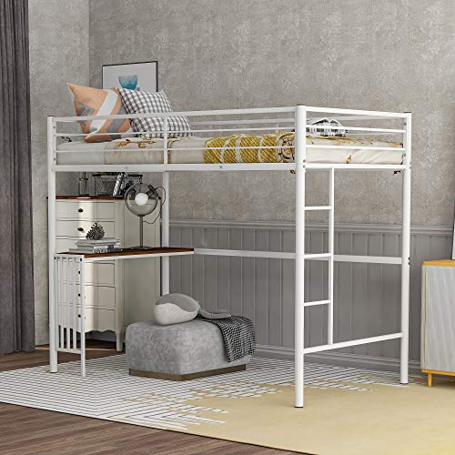 Twin Metal Bunk Bed with Desk, Ladder, and Guardrails, Twin Size Bunk Bed Space-Saving Loft Bed for Boys & Girls Teens