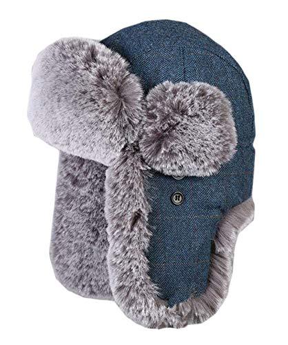Insun Insun Unisex Fliegermütze Warme Trappermütze Bomber Hut Fellmütze Erwachsenen Winter Mütze für Herren und Damen Streifen Blau XXL Hut Umfang 60cm