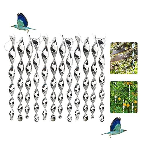 LNIBA 12PCS Varillas Reflectantes Repelentes de Pájaros, Espiral Reflectante de Aves, Reflectantes Repelentes de Pájaros, para Evitar Que Las Aves Protejan Flores y Jardines, 30cm