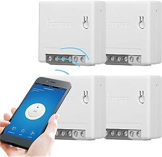 SONOFF Mini Smart Switch 4 Pezzi, Fai-da-Te Interruttore Telecomando per Elettrodomestici Funziona con Alexa Google Home