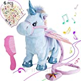 Electric Unicorn Pet Kids Leash Plush Wings Stuffed Animal Remote Control Remotely Intelligent Toy Blue, Sing Song Walk Twisting Super Cute Ass Unicorn Child Boy Baby Accompany Sleeping Toys