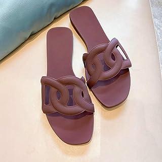 N / A Dames slippers 6 , platte damesschoenen, zomer casual flat-Bottom One Line Style, Dames sandalen Maroon_35