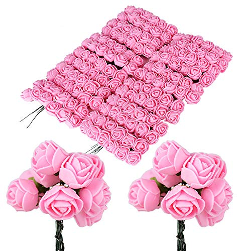 BUONDAC 144pcs Rosas Flores Ramos de Rosas Artificiales en Espuma para Manualidades Decoración de Boda Fiesta Hogar Rosa