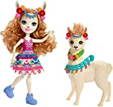 Enchantimals Mini-poupée Lluella Lama et figurine animale Fleecy aux longs cheveux châtains bouclés, jupe amovible et bandeau, jouet pour enfant, FRH42