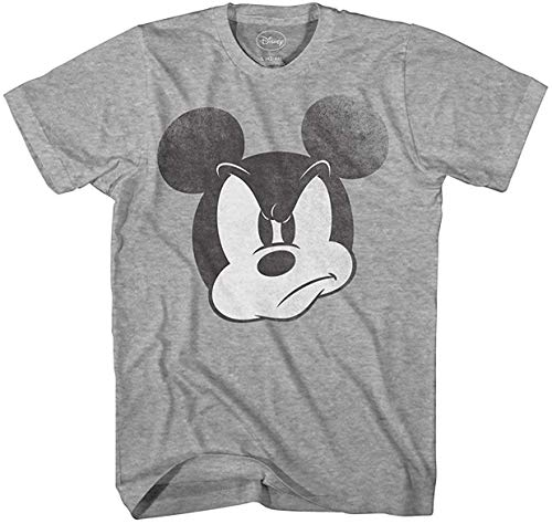 Disney Mad Mickey Mouse Adult Mens Tshirt Large Heather Grey