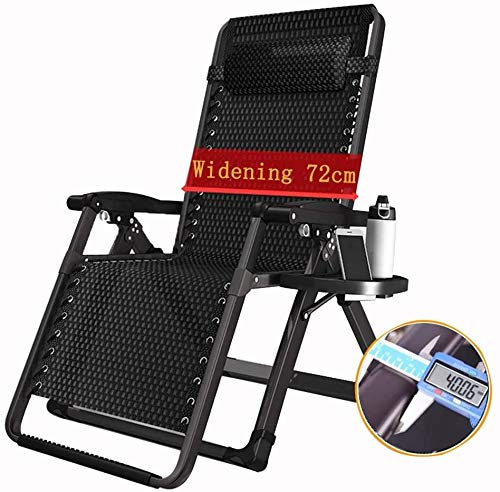 bh+ Klappbarer Schwerelosigkeitsstuhl Liegestuhl, Balkon Leisure Home Bed Chair im Freien, Sonnenlicht Strandstuhl Sessel, kühnes Stahlrohr, Stütze 200 kg Schwerelosigkeitsstühle (Farbe: KEIN Kissen)