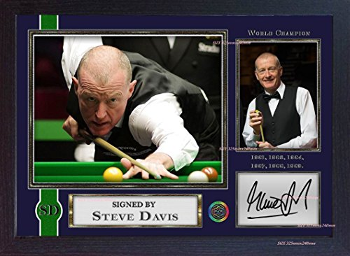 SGH SERVICES Poster Steve Davis Snooker, gerahmt, mit Autogrammen, MDF-Rahmen