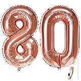 Liitata Globos con el número 80 de color oro rosa gigante para mujeres, tamaño XXXL, globos de helio de 100 cm, para 80 cumpleaños, bodas, aniversarios, graduaciones, fiestas, decoración