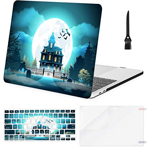 MacBook Pro13 inch Retina (2012-2015) with Retina Display,1502,A1425 Case Halloween Background Landscape Castle Cemetery Vector MacBook Case with Keyboard Cover Screen Protector Cleaning Brush