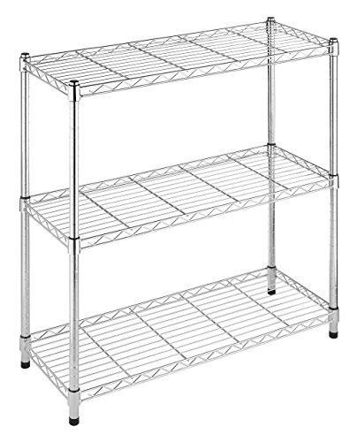 Whitmor Supreme 3 Tier Shelving with Adjustable Shelves and Leveling Feet - 350 lb. Capacity per Shelf - Chrome