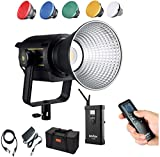 Godox VL200 LED Video Light, 200W 5600K Bowens Mount Continuous Video Light,CRI 96 TLCI 95, 75000Lux @1m, 6 Groups 16 Channels, Bluetooth and Wireless Radio Remote, with V-Mount Plate Controller Box