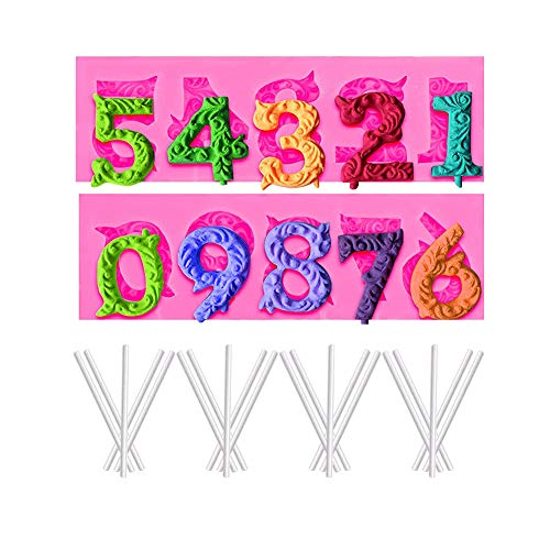 Silicone Number Mould,3D Silicone Mold Alphabet Numbers,0-9 Numbers 3D Non-Stick Mold Lower Case Letters Mold for Cake Decoration Sugar Craft Chocolate Fondant,Suitable for Birthday Anniversary