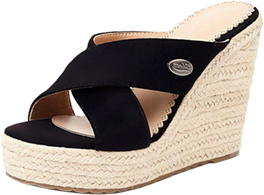 SO SIMPOK Womens Platform Espadrille Wedge Sandals Anti-Slip Bowtie Lovely Mules Shoes