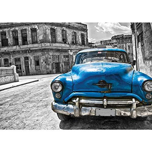 Vlies Fototapete PREMIUM PLUS Wand Foto Tapete Wand Bild Vliestapete - Oldtimer Havanna Kuba Gemälde - no. 1590, Größe:416x254cm Vlies