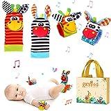 Baby Rattle Neonato Sonagli Calzini da Polso a Sonaglio per Bambini, Simpatici Animaletti Developmental Soft Toys Bambole per Neonati...