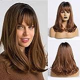 Fovermo Perruque de cheveux naturels pour femmes Ombre noir à brun perruques avec frange longueur d'épaule cheveux bouclés