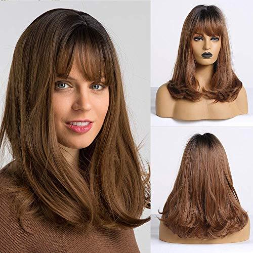 HAIRCUBE Long Straight Wave Ombre Perücken für weiße Frauen Schwarze Wurzel mit braunem Haar Synthetische Perücken mit stumpfem Knall
