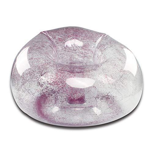 Male god Transparente Glänzende Aufblasbare Sitzsack Stuhl Transparente Pailletten Falten Tragbare PVC Aufblasbare Outdoor Faul Sofa Outdoor Camping (Color : Purple)