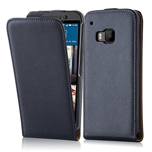 Cadorabo Hülle für HTC ONE M9 (3.Gen.) - Hülle in KAVIAR SCHWARZ – Handyhülle aus glattem Kunstleder im Flip Design - Hülle Cover Schutzhülle Etui Tasche