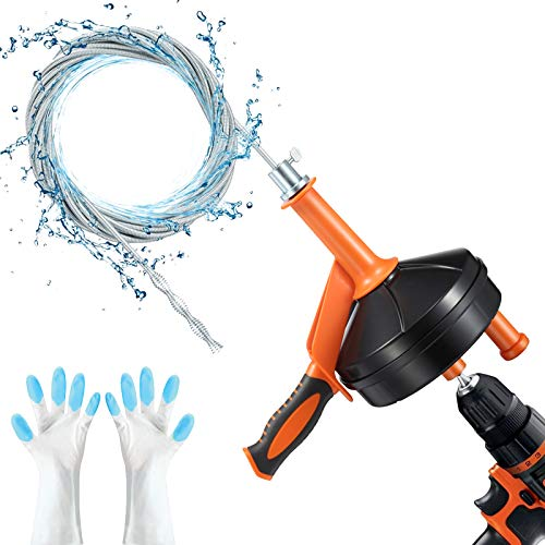 Drain Snake, Breezz Plumbing Snake Drain Auger with Drill Adapter, 25 Feet Heavy Duty Flexible Clog Remover Use Manually or Powered for Bathtub, Kitchen, Bathroom and Shower Sink, Comes with Gloves