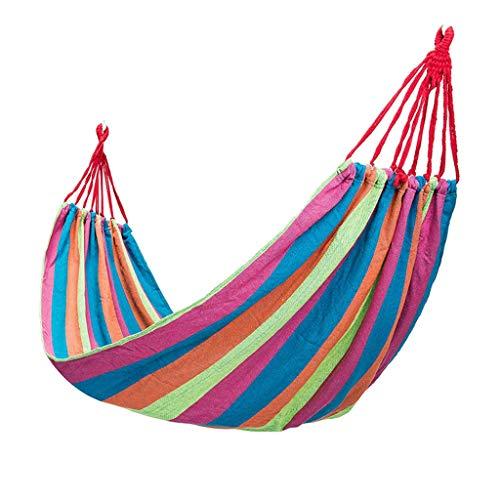 ZZL Hamacas de camping Gear de viaje, hamaca individual, portátil, cama columpio, lona, hamaca para acampar, para patio trasero, playa al aire libre, portátil (color: A)