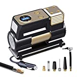 WOLFBOX Portable Air Compressor for Car,12V DC Air Pump for Car Tires, Air Compressor Tire Inflator with Auto Shut-Off, 150PSI,1 Spare Fuse & 5 Gas nozzles
