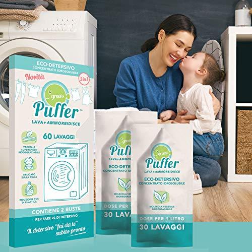 Green Puffer LAVA + AMMORBIDISCE (2in1 fai da te). Eco-detersivo concentrato idrosolubile Super Green per lavatrice + ammorbidente. 60 lavaggi, Made in Italy