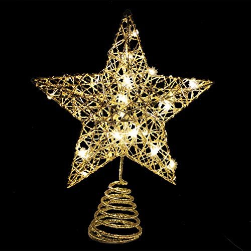 Gold Glitter Star Tree Topper Metal Hallow Tree Star Lighted for Christmas Tree Decorations Home Holiday Xmas Party Indoor Decor