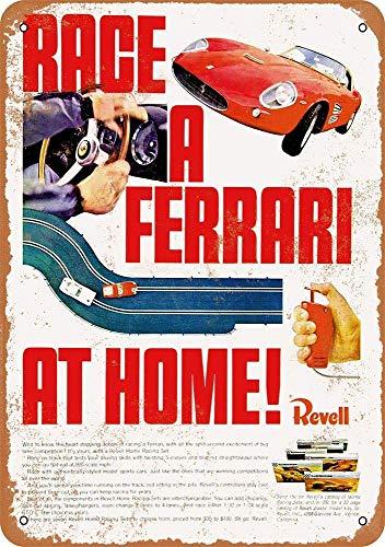 Ferrari Slot Car Racing Póster de Pared Metal Creativo Placa Decorativa Cartel...