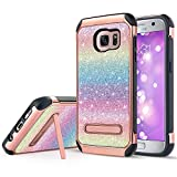UARMOR Galaxy S7 Case, Samsung S7 Case, Luxury Glitter Bling Rugged Shockproof Sparkly Shiny Faux Leather Hybrid Hard Case Cover for Samsung Galaxy S7, Colorful Rainbow