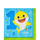 amscan- Baby Shark Luncheon Paper Napkins-16 Pcs Servilletas de papel para almuerzo, 16 unidades (512527)