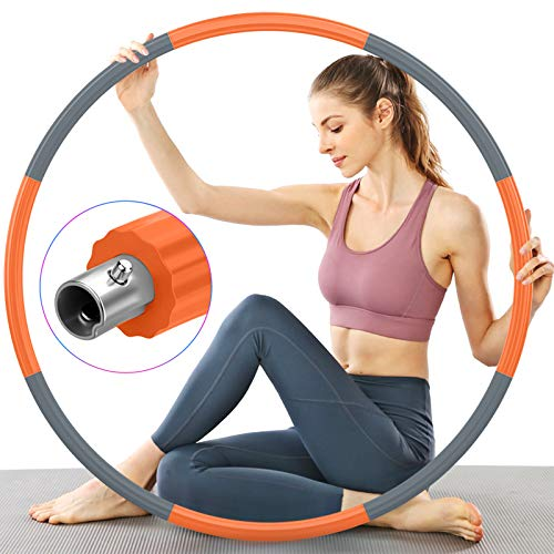 TTMOW Hula Hoop Reifen Erwachsene für Fitness, Verbesserter Edelstahlkern mit Dicker Premium Schaumstoff, Stabiler, Komfortabler und Längeres Leben, 2,7 lb zum Abnehmen (Grau und Orange)