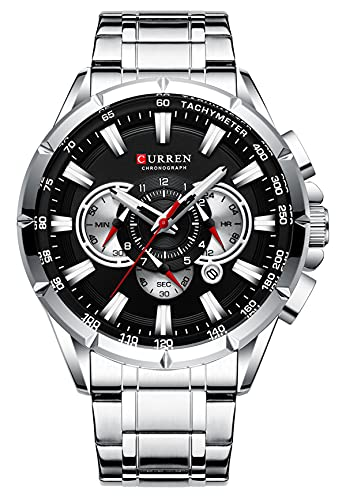 Reloj para Hombre Reloj cronógrafo Deportivo de Moda Relojes Militares Impermeables con Correa de Acero Inoxidable Plata/Negro
