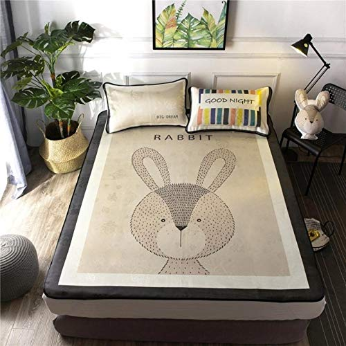 QZXCD hoeslakens kwaliteit hoeslaken Sheet Ice Silk Mat matrashoes grootte 120 * 200/150 * 200 cm zomer Cool Bed Sheet 2 kussenslopen bevatten 150x200cm 2pillowcas 040