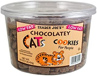 Trader Joe's Low Fat Chocolatey Cats Cookies for People - 1 lb (16 oz) Tub