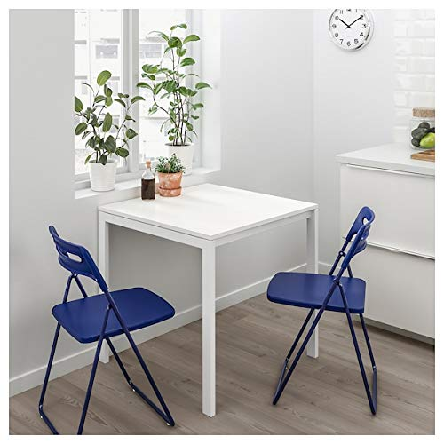 Tok Mark Traders MELLTORP - Mesa de comedor, 75 x 75 cm, color blanco, resistente y fácil de cuidar, hasta 4 asientos, mesas de comedor, mesas y escritorios, muebles respetuosos con el medio ambiente