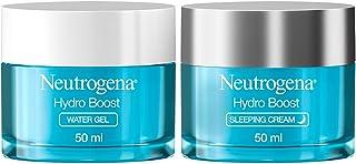 Neutrogena Hydro Boost Day and Night Hydration Regime Set for Dry Skin, Water Gel Moisturiser and Sleeping Cream, Purified...