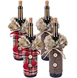 4 Pack Christmas Sweater Wine Bottle Cover, Newest Collar & Button Coat Design Wine Bottle Sweater Wine Bottle Dress Sets Xmas Party Decorations