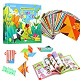 Colorido kit de origami para niños, 192 papeles de origami de doble cara, 94 patrones, de 5,3 pulgadas, cuadrado, libro de origami para niños principiantes y clases de manualidades escolares