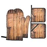 Juego de 4 Guantes y Porta ollas para Horno Resistentes al Calor Puerta de Madera Antigua para Hornear en la Cocina,microondas,Barbacoa