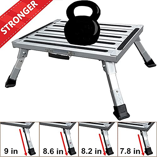 FLSEPAMB Portable RV Steps RV Step Stool Aluminum Folding Steps with Anti-Slip Surface, Rubber Feet, Grip Handle, Suitable for RV Travel, Camping, Household Use, Supports Up to 1000 lbs