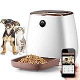 1080P HD Cámara de perro con temporizador programable, 3L alimentador automático para gatos con grabadora de voz para perros, dispensador inteligente de alimentos para animales para gatos y perros