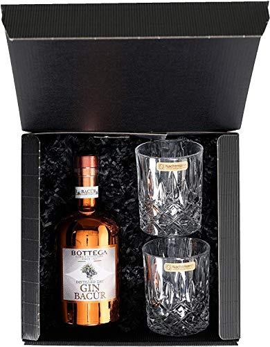 Geschenkset: Bottega Gin Bacur (0.5 l) incl. zwei besonderer Gläser im attraktiven Geschenkkarton