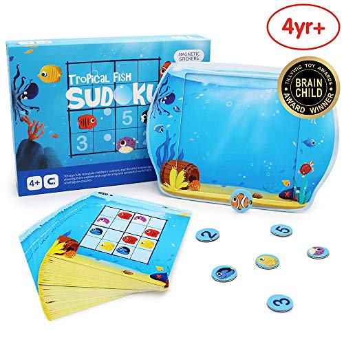 ANIKI TOYS Tropical Fish Sudoku Magnetic Board Games Number Puzzle Travel Toy- 4 5 6 7 Years Old Kids Educational Toy (Intermediate Level)
