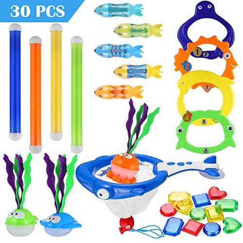 iBaseToy 30 Stück Pool-Tauchspielzeuge, Unterwasser-Schwimm-Tauchspielzeug-Set - enthält Tauchringe, Tauchstöcke, Tauchgras, Fischnetz, Torpedo-Spielzeug, Edelsteine und Netztasche für Kinder