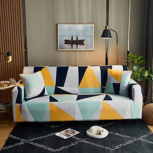 Elastischer Sofabezug Gedrucktes Muster Sofahusse Stretch Couchbezug für Sofa mit Armlehne Universal Anti-Rutsch Sofa Couch Überwürf -Geometric_005_Single_Seat(90-140cm/35-55inch)