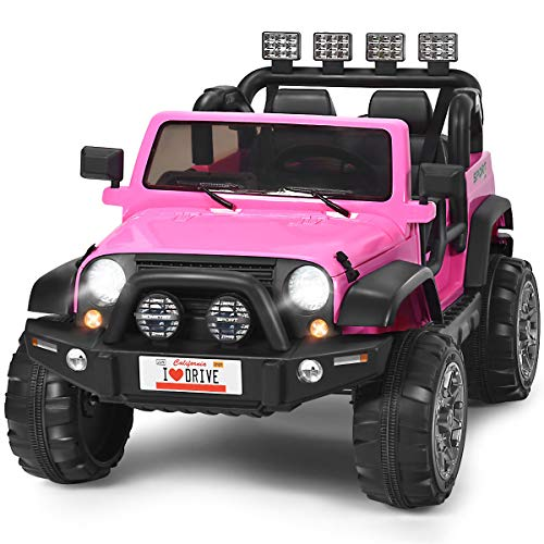 Costzon 2-Seater Ride on Truck, 12V Battery Powered Electric Vehicle Toy w/ 2.4G Remote Control, 3 Speed, LED Lights, MP3 Horn, Music, 2 Doors Open, Spring Suspension, Ride on Car for Kids (Pink)